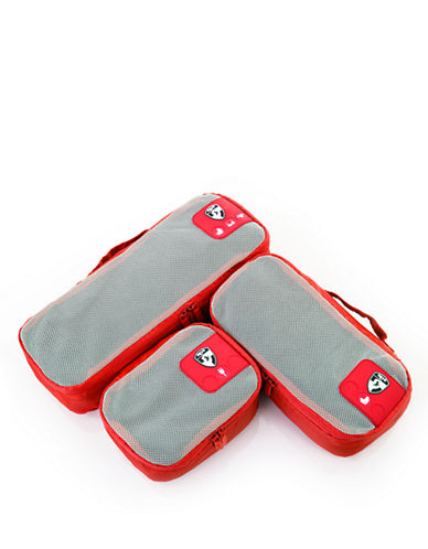 Heys Pack ID 3 pc Slim Packing Cube Set   3 size-RED-One Size