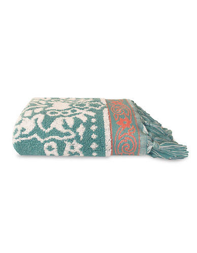 Jessica Simpson Antiquity Patterned Tasseled Hand Towel-TEAL-Hand Towel