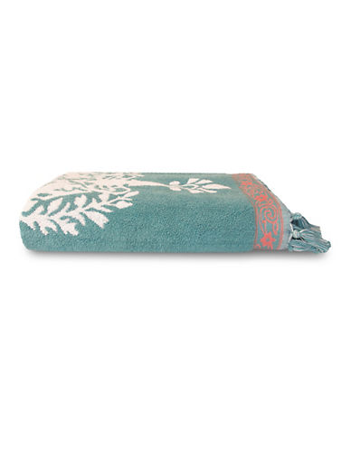 Jessica Simpson Antiquity Patterned Tasseled Bath Towel-ROSE-Bath Towel