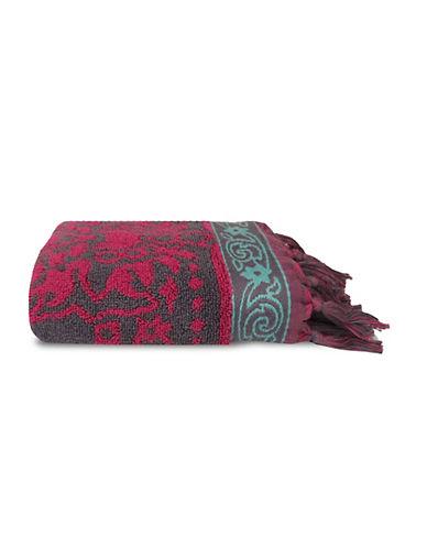 Jessica Simpson Antiquity Patterned Tasseled Hand Towel-ROSE-Hand Towel