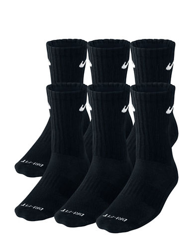Nike Six-Pack Dry Cushion Crew Training Socks Set-BLACK-Large 89485089_BLACK_Large
