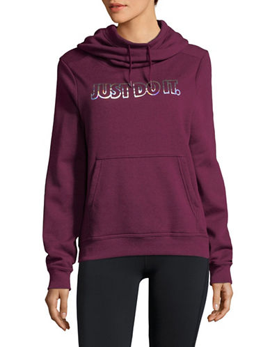 Nike Metallic Print Fleece Hoodie-WINE-X-Small