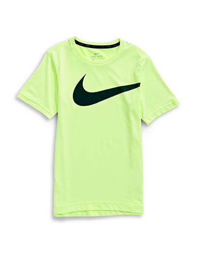 Nike Breathe Logo T-Shirt-YELLOW-Large
