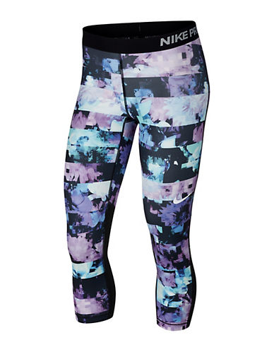 Nike Flower Capri Leggings-PURPLE-Large