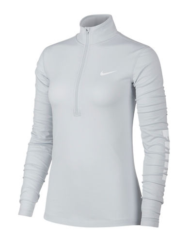 Nike Logo Printed Long Sleeve Top-SILVER-X-Small