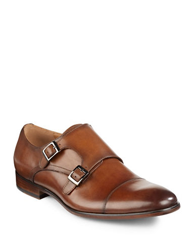 Pegabo Medien Leather Monk Strap Shoes-COGNAC-EU 41/US 8