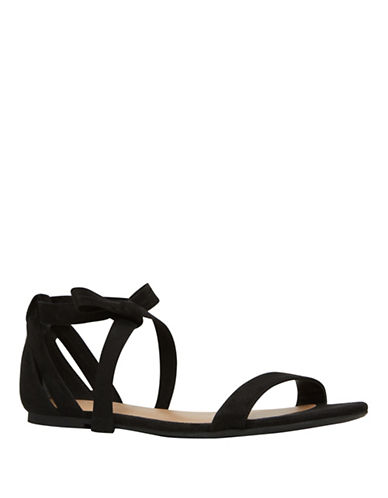 Call It Spring Caderasen Ankle Wrap Flat Sandals-BLACK-7