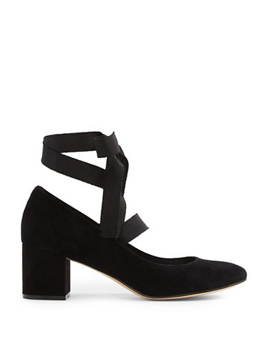 Aldo Wunderly Ankle Strap Suede Block Heel Shoes-BLACK-8