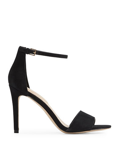 Aldo Fiolla Ankle Strap Nubuck High Heel Sandals-BLACK NUBUCK-9