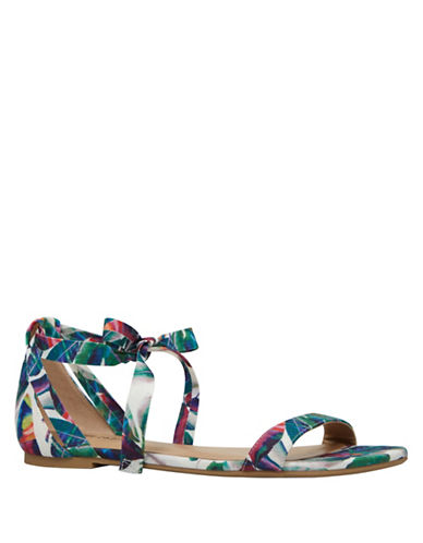 Call It Spring Caderasen Ankle Wrap Flat Sandals-GREEN MULTI-8
