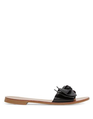 Aldo Prettie Leather Slide Sandals-BLACK-8