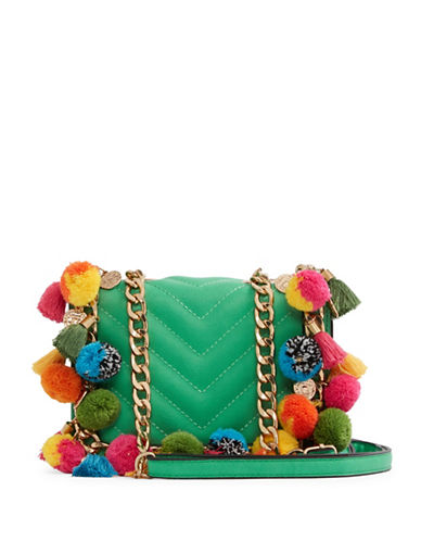 Aldo Pom-Pom Cross Body Bag-GREEN-One Size