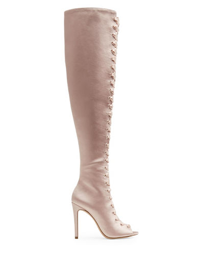 Aldo Tie-Up Over The Knee Boots-PINK-8