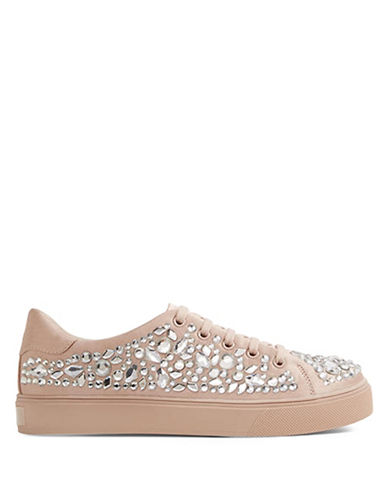 Aldo Zellina Pearl and Diamante Embellished Sneakers-PINK-8.5