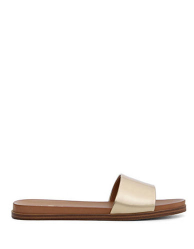 Aldo Fabrizzia Flat Slide Sandals-GOLD-8.5