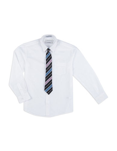 Perry Ellis Easy-Care Dress Shirt and Tie Set-WHITE-5