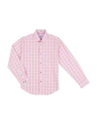 Calvin Klein Plaid Woven Shirt-CORAL-8