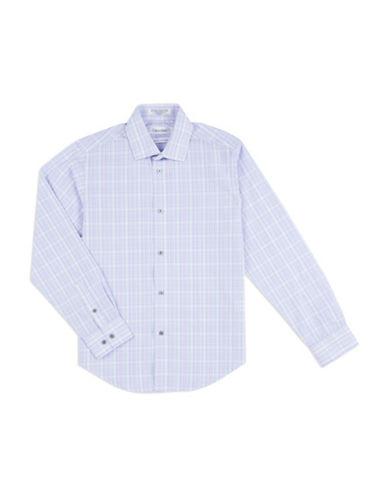 Calvin Klein Plaid Woven Button-Down Shirt-PURPLE-8