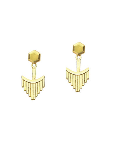 Foxy Originals Lux 14K Goldplated Jacket Earrings-GOLD-One Size