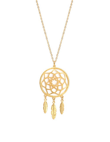 Foxy Originals Dreamcatcher Bronzeplated Necklace-GOLD-One Size