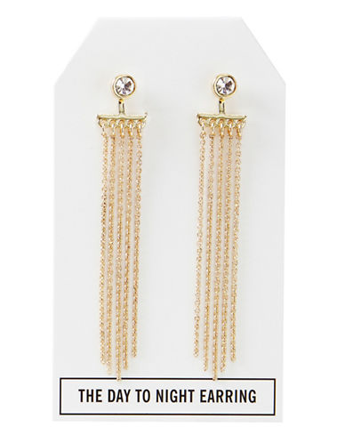 Foxy Originals 14K Goldplated Crystal Day to Night Tassel Earrings-GOLD-One Size