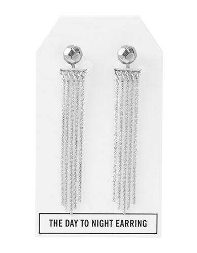 Foxy Originals Pewter-Plated Silver Nugget Day-to-Night Stud and Tassel Earrings-SILVER-One Size