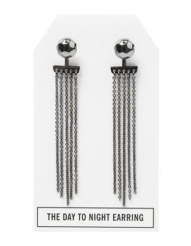 Foxy Originals Pewter-Plated Gunmetal Nugget Day-to-Night Stud and Tassel Earrings-GUNMETAL-One Size