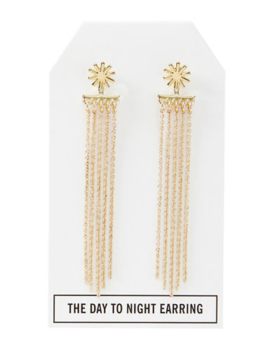 Foxy Originals 14K Gold Star Day-to-Night Stud and Tassel Earrings-GOLD-One Size