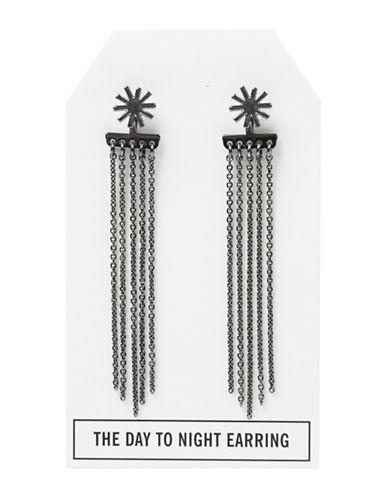 Foxy Originals Gunmetal Star Day-to-Night Stud and Tassel Earrings-GUNMETAL-One Size