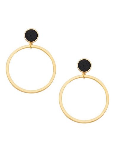 Foxy Originals Druzy Goldplated Hoop Earrings-GOLD-One Size