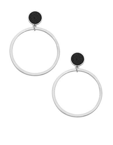 Foxy Originals Druzy Silverplated Hoop Earrings-SILVER-One Size