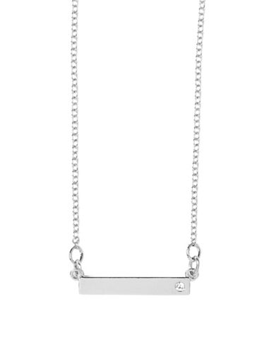 Foxy Originals Pewter-Plated Silver Swarovski Crystal Merry and Bright Bar Necklace-SILVER-One Size