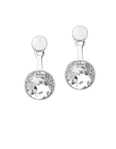 Foxy Originals Luxe Swarovski Crystal Silverplated Orb Ear Jackets-SILVER-One Size