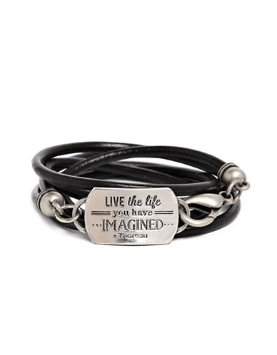 Foxy Originals Live Mantra Wrap Bracelet-SILVER-One Size