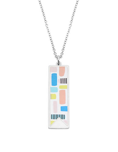 Foxy Originals Printed Pendants Pablo Abstract Charm Necklace-SILVER-One Size