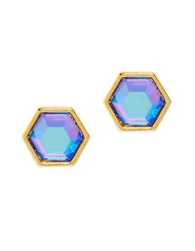 Foxy Originals Hexagon Gemstone Earrings-GOLD-One Size