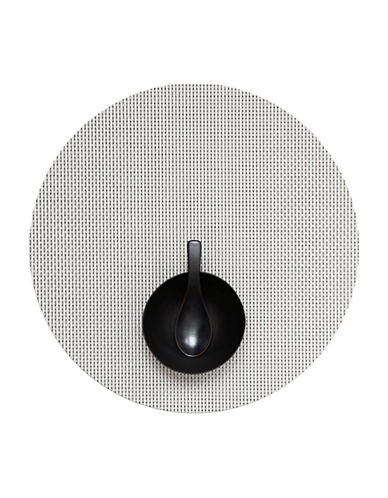 Chilewich Round Basketweave Vinyl Placemat-WHITE-One Size