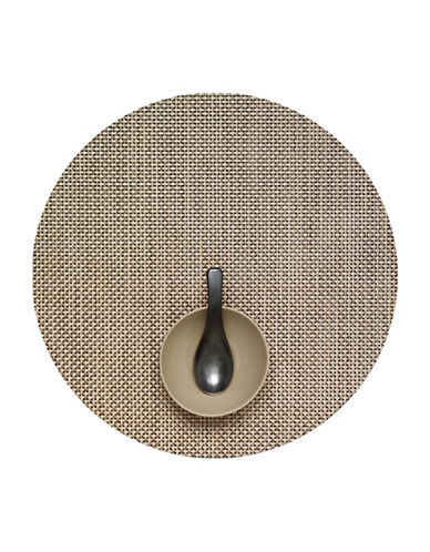 Chilewich Round Basketweave Vinyl Placemat-LATTE-One Size