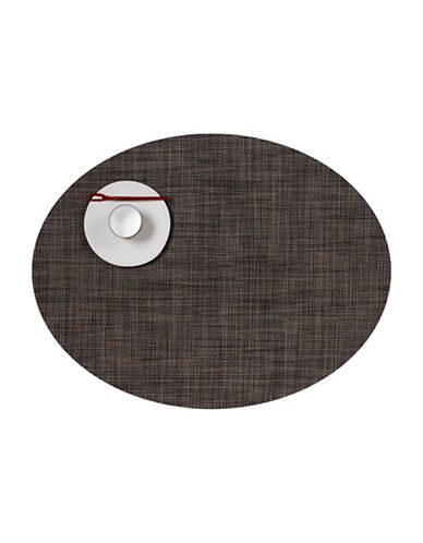 Chilewich Oval Mini-Basketweave Vinyl Placemat-DARK WALNUT-One Size