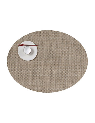 Chilewich Oval Mini-Basketweave Vinyl Placemat-LINEN-One Size