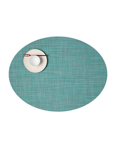 Chilewich Oval Mini-Basketweave Vinyl Placemat-TURQUOISE-One Size