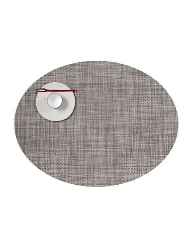 Chilewich Oval Mini-Basketweave Vinyl Placemat-GREY-One Size