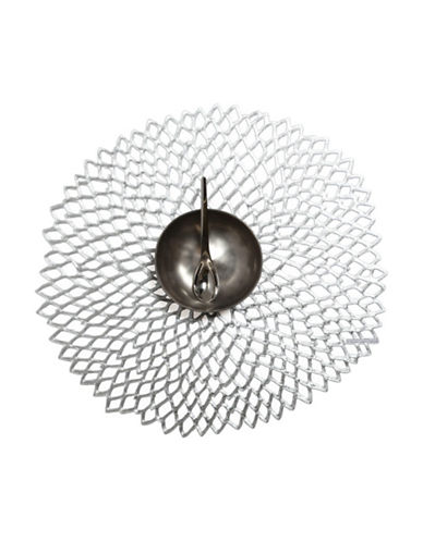 Chilewich Floral  Shaped Pressed Dahlia Silver Placemat-SILVER-One Size