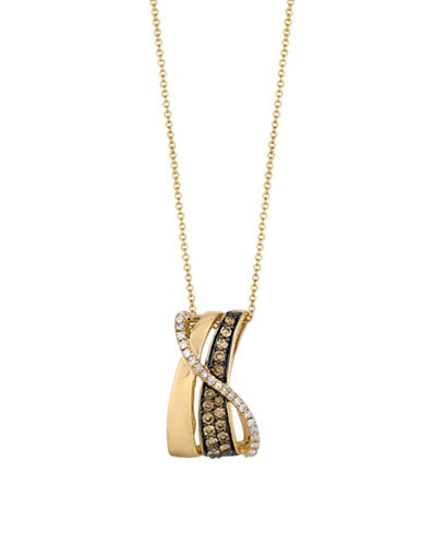 Le Vian Chocolate and Vanilla Diamonds 14K Yellow and Honey Gold Gladiator Pendant-GOLD-One Size