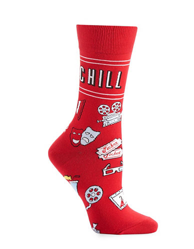 Yo Sox Movie and Chill Socks-RED-One Size