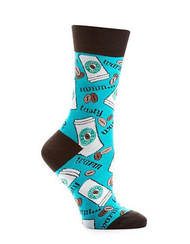Yo Sox Allover Coffee Pattern Crew Socks-GREEN-One Size