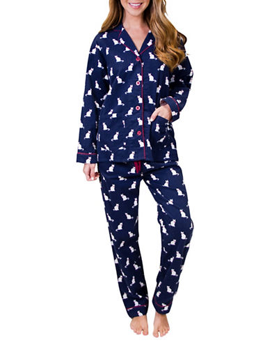 Pj Salvage Cats Cotton Flannel Pyjama Set-NAVY-Medium