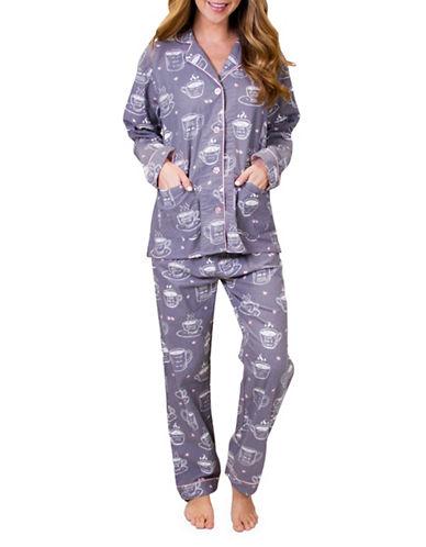 Pj Salvage Coffee Time Flannel Pajamas-DOVE-Medium