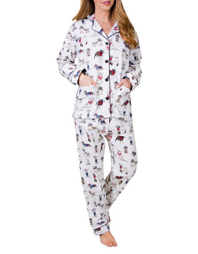 Pj Salvage Cool Cowboy Dogs Flannel Pajamas-IVORY-Small