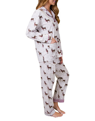 Pj Salvage Deerly Loved Cotton Flannel Pyjama Set-IVORY-X-Small